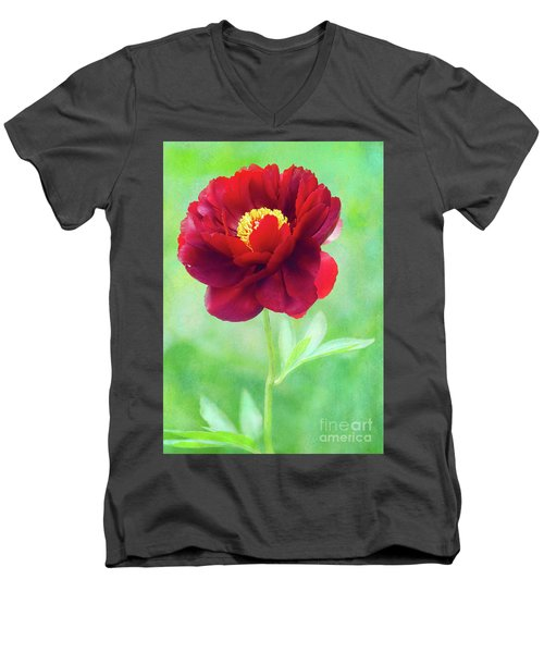 Magnificent Crimson Peony Men's V-Neck T-Shirt