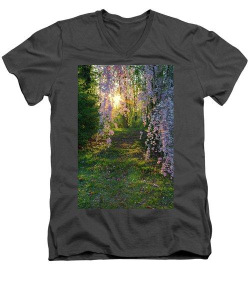 Magnolia Tree Sunset Men's V-Neck T-Shirt