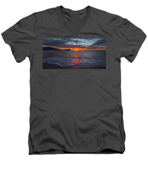 Malibu Pier Sunrise Men's V-Neck T-Shirt