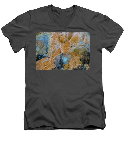 Men's V-Neck T-Shirt featuring the photograph Mammoth Hot Springs by Mae Wertz
