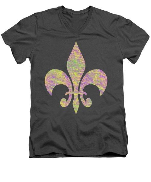 Mardi Gras Party Fleur De Lis Men's V-Neck T-Shirt