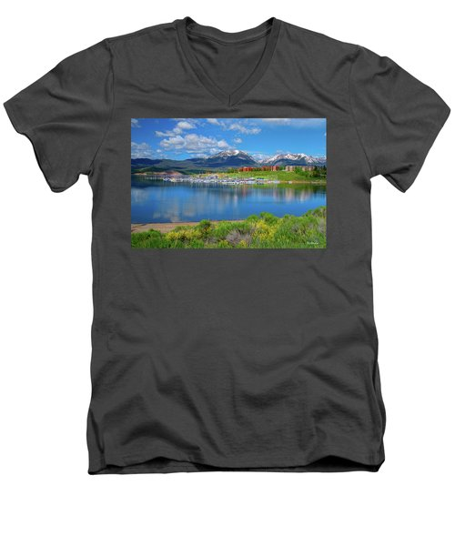 Men's V-Neck T-Shirt featuring the photograph Marina At Lake Dillon by Tim Kathka