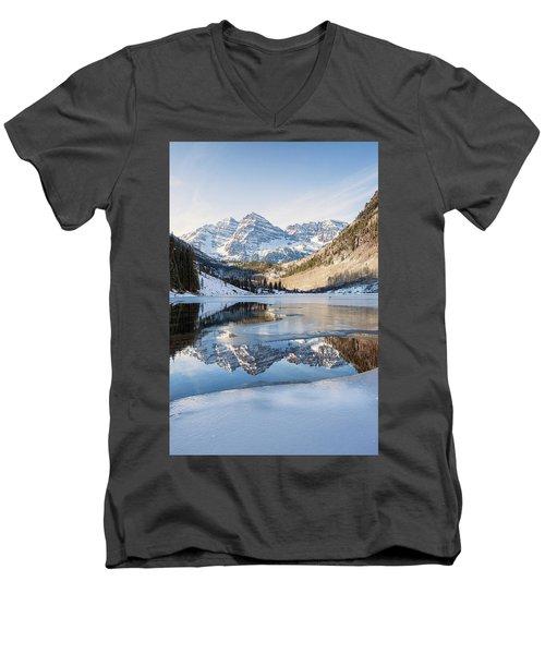 Maroon Bells Reflection Winter Men's V-Neck T-Shirt