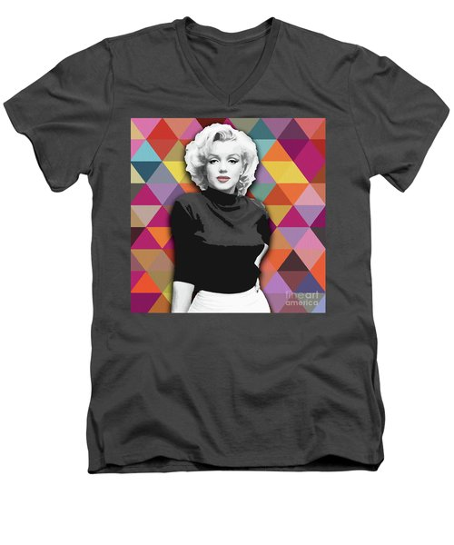 Men's V-Neck T-Shirt featuring the painting Marylin Monroe Diamonds by Carla Bank