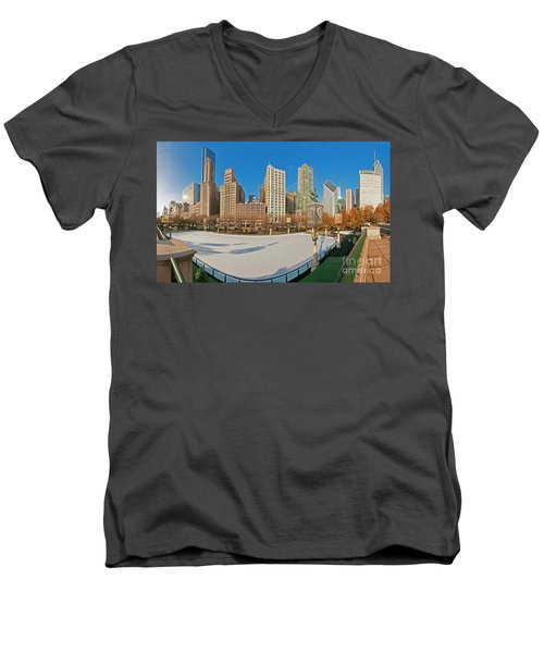 Mccormick Tribune Plaza Ice Rink And Skyline   Men's V-Neck T-Shirt