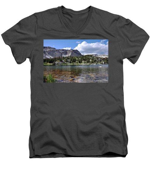 Medicine Bow Peak And Mirror Lake Men's V-Neck T-Shirt
