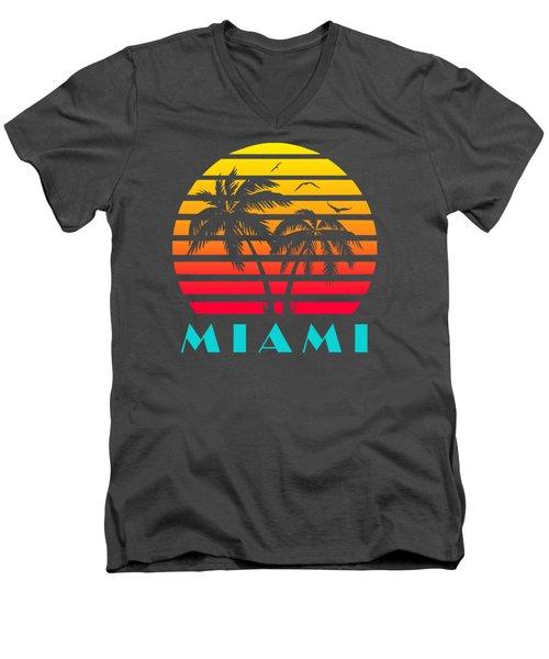 Miami 80s Tropical Sunset Men's V-Neck T-Shirt