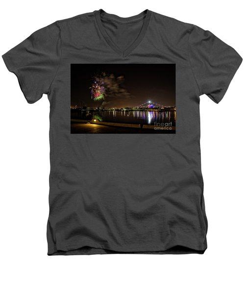 Midway Fireworks  Men's V-Neck T-Shirt