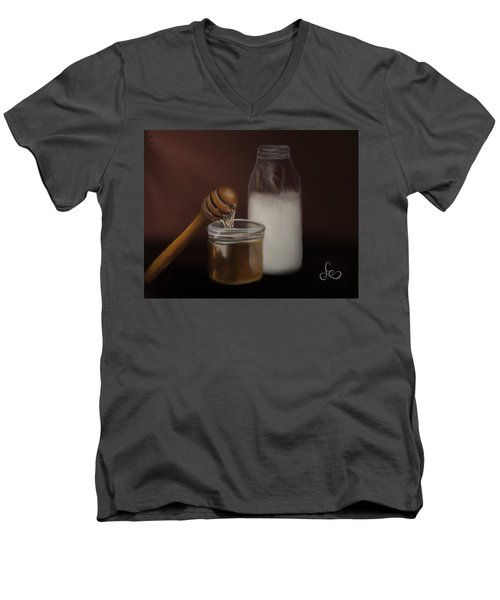 Men's V-Neck T-Shirt featuring the painting Milk And Honey  by Fe Jones