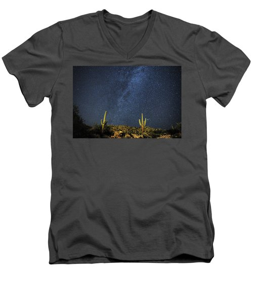 Milky Way And Cactus Men's V-Neck T-Shirt