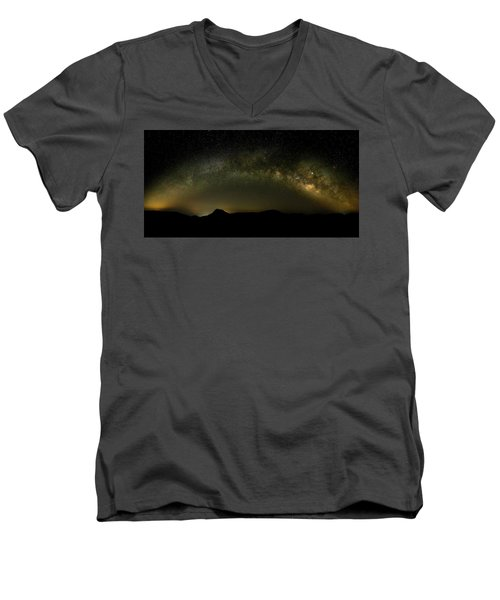 Milky Way Arch Panorama Over Tianping Mountain And Ridge-line Men's V-Neck T-Shirt