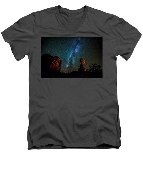 Men's V-Neck T-Shirt featuring the photograph Milky Way Over Balanced Rock by David Morefield