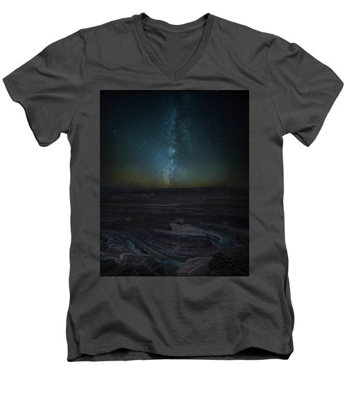 Men's V-Neck T-Shirt featuring the photograph Milky Way Over Dead Horse Point by David Morefield