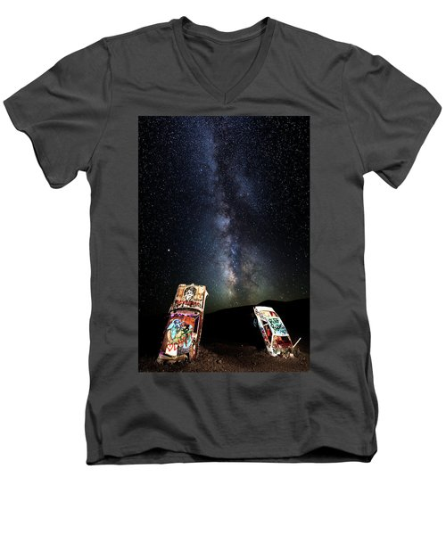 Milky Way Over Mojave Desert Graffiti 1 Men's V-Neck T-Shirt