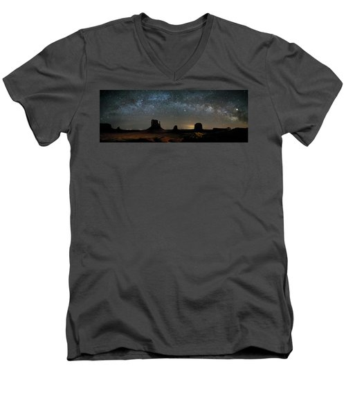 Milky Way Over Monument Valley Men's V-Neck T-Shirt