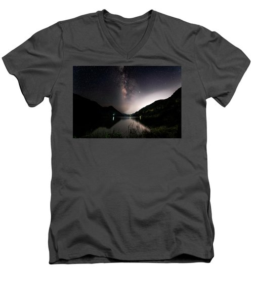 Milky Way Over The Ou River Near Longquan In China Men's V-Neck T-Shirt