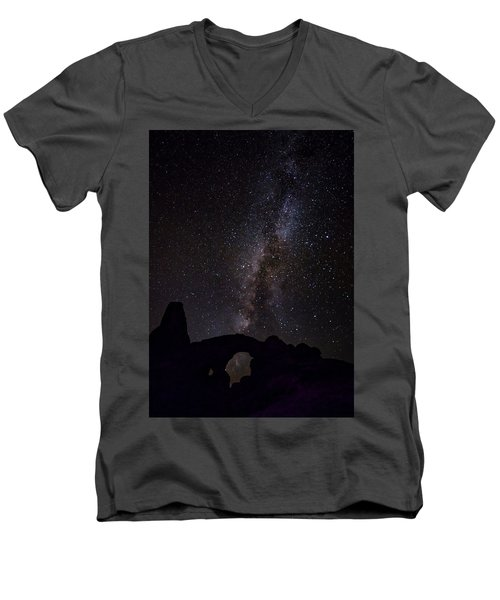 Men's V-Neck T-Shirt featuring the photograph Milky Way Over The Windows by David Morefield
