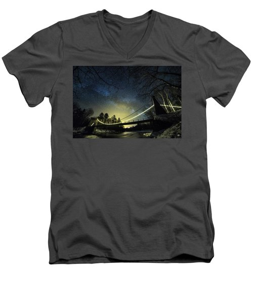 Milky Way Over The Wire Bridge Men's V-Neck T-Shirt
