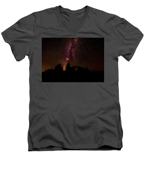 Men's V-Neck T-Shirt featuring the photograph Milky Way Over Turret Arch by Andy Crawford