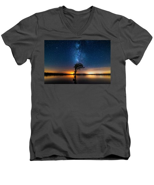 Men's V-Neck T-Shirt featuring the photograph Milky Way Swamp by Andy Crawford