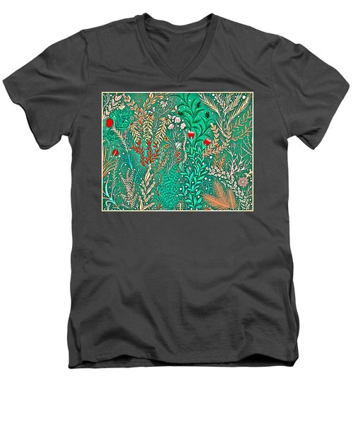 Millefleurs Home Decor Design In Brilliant Green And Light Oranges With Leaves And Flowers Men's V-Neck T-Shirt