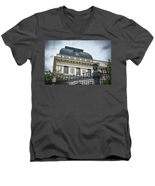 Men's V-Neck T-Shirt featuring the photograph Ministry Of Agriculture Building Of Madrid by Eduardo Jose Accorinti