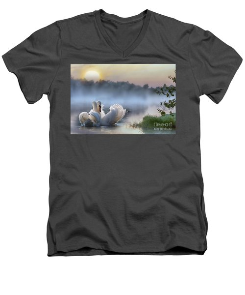 Misty Swan Lake Men's V-Neck T-Shirt