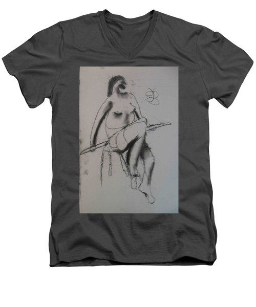 model named Chieh three Men's V-Neck T-Shirt