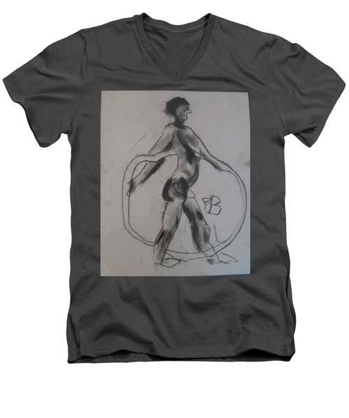 model named Guy Men's V-Neck T-Shirt