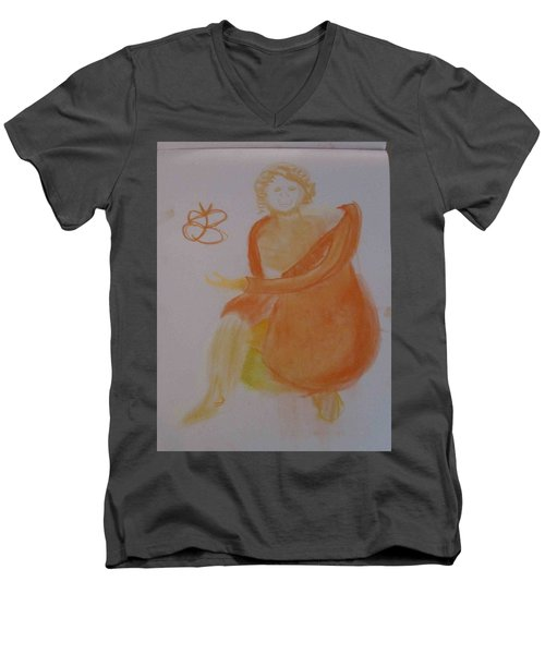 model named Helene three Men's V-Neck T-Shirt