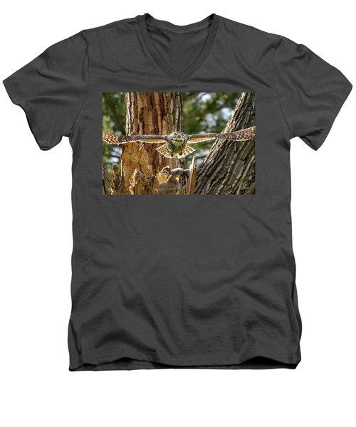 Momma Great Horned Owl Blasting Out Of The Nest Men's V-Neck T-Shirt