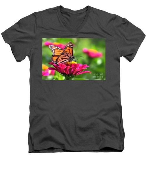 Monarch Visiting Zinnia Men's V-Neck T-Shirt