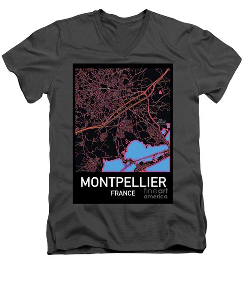 Montpellier City Map Men's V-Neck T-Shirt