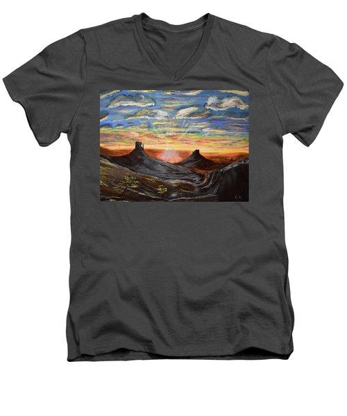 Monument Valley And Kokopelli Men's V-Neck T-Shirt
