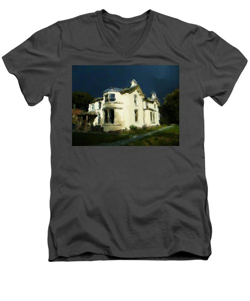 Moody Sky Over Allenbank Painting Men's V-Neck T-Shirt