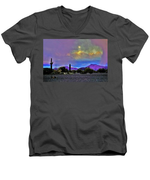 Moon At Sunset In The Desert Men's V-Neck T-Shirt