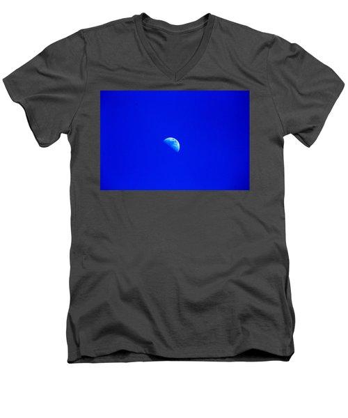Moon In A Daytime Sky Men's V-Neck T-Shirt