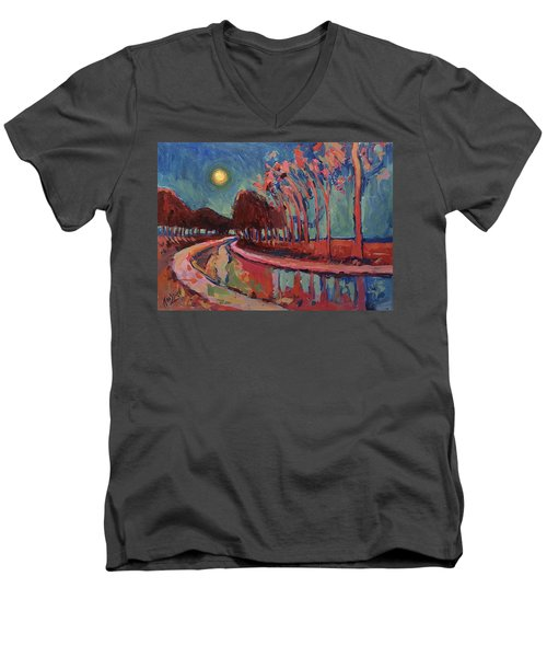Moon Night At The Canal Men's V-Neck T-Shirt