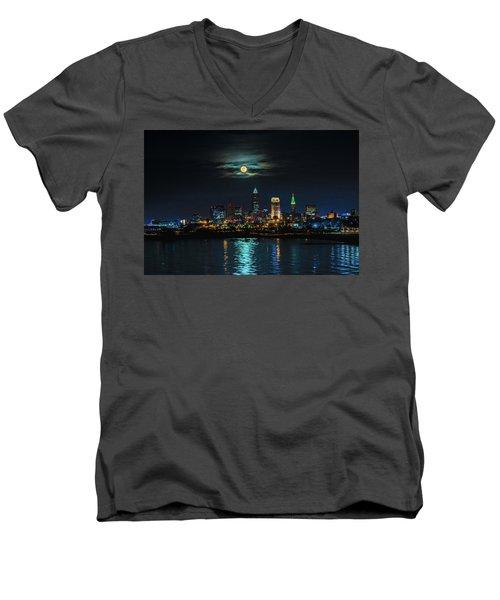 Moon Over Cleveland  Men's V-Neck T-Shirt