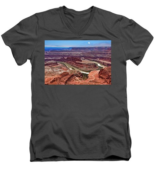 Men's V-Neck T-Shirt featuring the photograph Moon Over Deadhorse Point by Andy Crawford