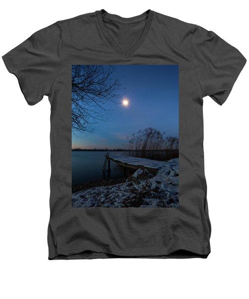 Moonlight Over The Lake Men's V-Neck T-Shirt