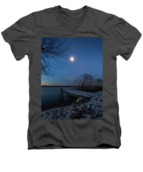 Moonlight Over The Lake Men's V-Neck T-Shirt