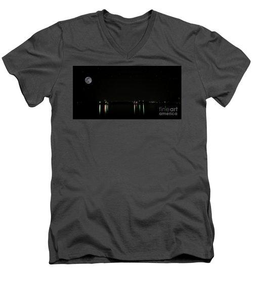 Moonlit Medina Lake San Antonio Tx 8364a Men's V-Neck T-Shirt
