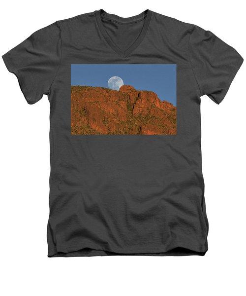 Moonrise Over The Tucson Mountains Men's V-Neck T-Shirt