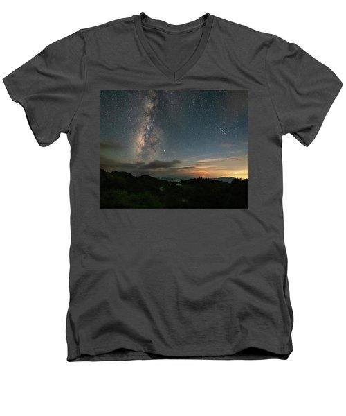 Moonset Milky Way And Shooting Star Men's V-Neck T-Shirt