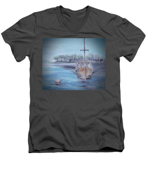Moored Sailboat Men's V-Neck T-Shirt