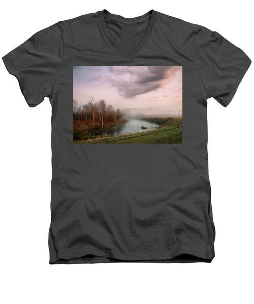Morning By The Oxbow Men's V-Neck T-Shirt