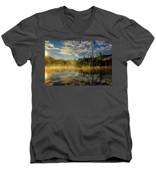 Morning Mist, Wildlife Pond  Men's V-Neck T-Shirt