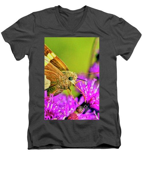 Moth On Purple Flower Men's V-Neck T-Shirt