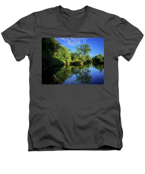 Men's V-Neck T-Shirt featuring the photograph Mount Vernon Iowa by Dan Miller